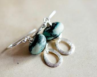 Dangle Earrings, Lampwork Earrings, Glass Earrings, Space Earrings, Satellite, Blue Glass, Earthy, Sterling Silver, Drop Earrings