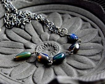 Opal Necklace, Opal Jewelry, October Birthstone, Precious Opal, Black Opal, Dark Opal, Ethiopian Opal, Wire Wrapped, PoleStar