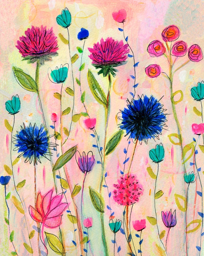 Large Flower Wall Decor : Large flower painting wall art print