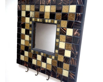 Black Brown Mosaic Mirror, Mosaic Wall Mirror Hooks, Bronze Black Mosaic Key Rack, Mosaic Jewelry Hooks, Bronze Brown Black Key Rack