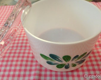 Vintage Japan Retro Kiitaka Happy Series Green Floral Decor Container Loose