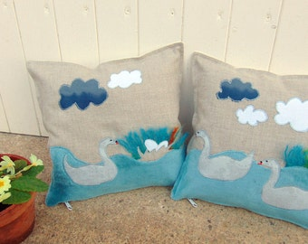 Swan, pair of hand made cushions, swans nest, decorative pillow, applique, freehand embroidery,blue, beige, vintage fabric, country decor