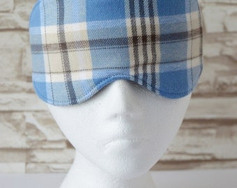 Blue Plaid Eye Mask for Sleep, Travel, etc. ~ MADE TO ORDER for Teachers, Friends, Birthdays, All Occasion Gifts