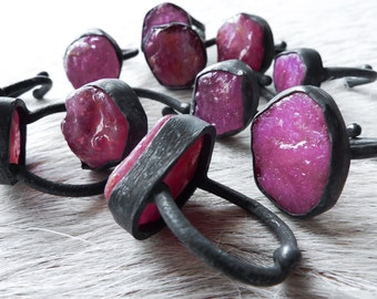 Raw ruby ring | Rough ruby ring | Birthstone ring | Adjustable ring | Ruby in silver ring