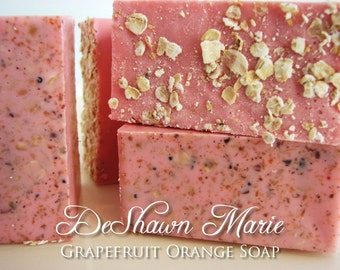 SALE SOAP- Grapefruit Orange Soap - Vegan Soap - Handmade Soap - Citrus Soap- Soap Gift - Wedding Favors - Housewarming Gift