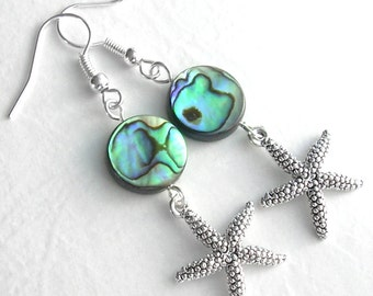 Silver Starfish Earrings, Abalone Shell Earrings, Beach Wedding Jewelry