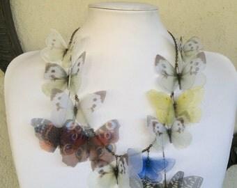 I Will Fly Away - Handmade Silk Organza Butterfly Necklace - Italian Butterflies