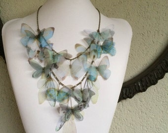 Pale Blue - Handmade Light Blue Morpho Butterflies, Moth and Wings Silk Organza Double Statement Necklace - One of a Kind