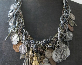 Catholic Medallion Assemblage Necklace - Salvaged Divinity No. 13 - Saint Medals on Woven Chain Collar