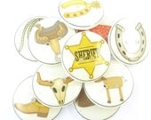 "10 Cowboy Buttons. Western Novelty Buttons. Buttons for Boys.  Sewing Buttons.  3/4"" or 20 mm round."