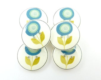 """6 Blue Flower Sewing Buttons.  Modern Blue and Lime Green Flower Sewing Buttons.  3/4"""" or 20 mm."""