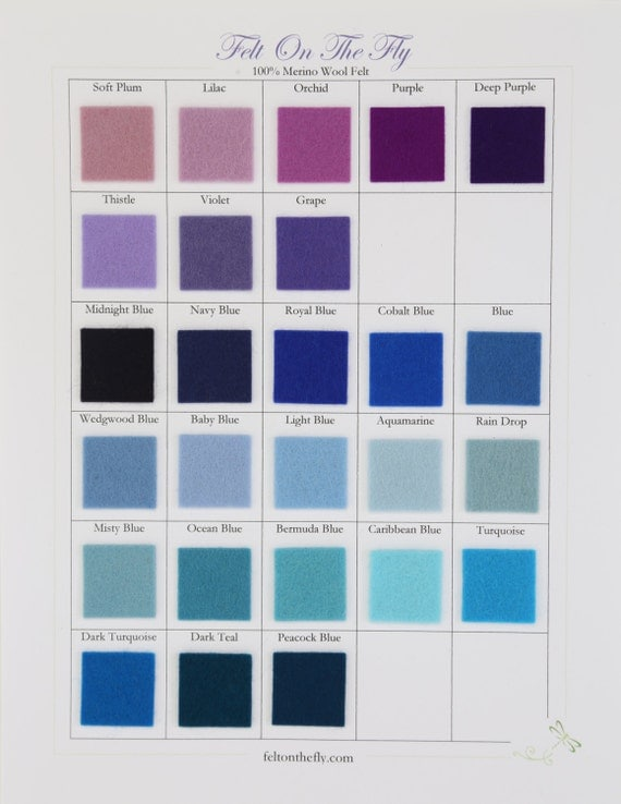 Wool Felt, CHOOSE SEVEN Sheets, Blue Felt, Purple Felt, Merino Wool, Applique, DIY Craft Supply, Wool Felt Fabric, Felt Bows, Felt Toys