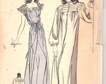 Butterick 3962 1940s Misses Demure Nightgown Pattern  Tucked Yoke Bishop or Lace Sleeve Womens Vintage Sewing Pattern Size 12 Bust 30 FF