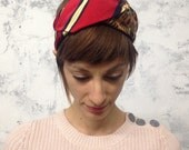 remade vintage tie turban / Coca-Cola Red Navy Stripe Pattern / upcycled reconstructed refashioned eco sustainable fashion