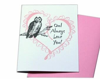 Owl Always Love You Letterpress Blank Card
