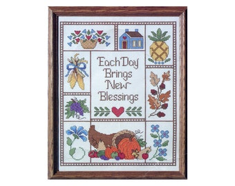 Vintage Cross Stitch Sampler Kit Harvest Blessings Each Day Brings New Blessings Picture to Embroider 11 X 14 Autumn Thanksgiving Sampler