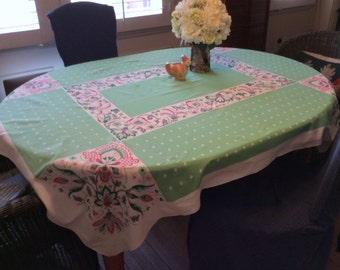 Vintage Startex Tablecloth Pretty Pink & Green Stylized Floral
