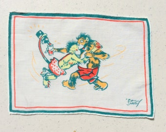 Vintage Textile Tony Sarg Drunken Monkeys Swing Your Partner Pour Another