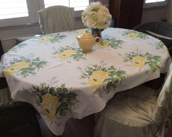 Vintage Wilendur Tablecloth Yellow Roses