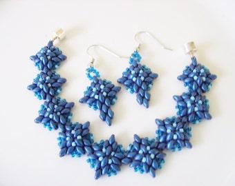Beaded  bracelet , blue beadwoven bracelet , Handmade bracelet Set , Beaded super duo bracelet , Seed bead bracelet