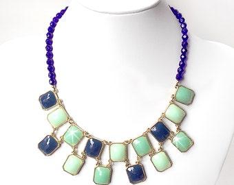 Navy Blue and Green Statement Bib Necklace - Chunky Gold Necklace - Beaded Statement Necklace - Blue, Green, Mint, Teal - Czech Glass