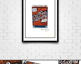 Microbrew Series Original Framed Matted Painted Illustration with Glitter Coffee Oatmeal Stout