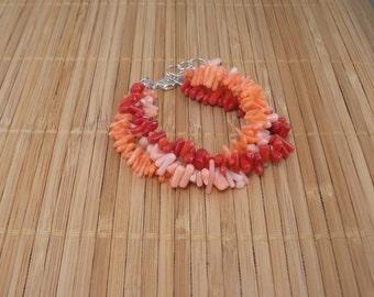 Coral Multistrand Bracelet Red Coral Bracelet 3 Strand Bracelet Salmon Bracelet Red Multistrand Sterling Silver Coral Red Bracelet