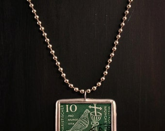 German 1960 Eucharistic Congress Postage Stamp Soldered Pendant Necklace