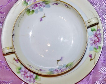 Violets are Blue and Just for You, , China Soup Bowl and Plate, Nippon
