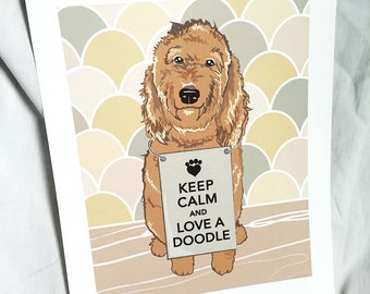 Keep Calm Labradoodle with Scaled Background - 7x9 Eco-friendly Print