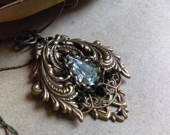 Victorian brass filigree and crystal necklace