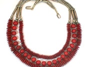 Red Dyed Bone Necklace - Multi Strand Tribal Boho Hippie Vintage Bib Necklace