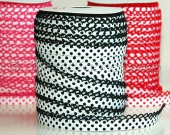 Double fold crochet edge bias tape, crochet bias tape, lace bias tape, white and black bias tape, polka dot bias tape, bias binding