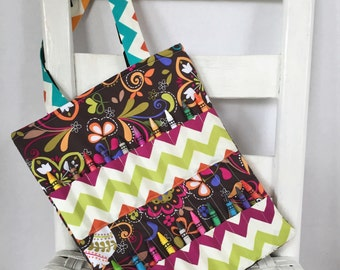Norwegian Blooms with Chevrons Crayon Bag Art Accessories Coloring Tote Girls Birthday Gift Chevron Crayon Roll Kids Art Bag Crayon Holder