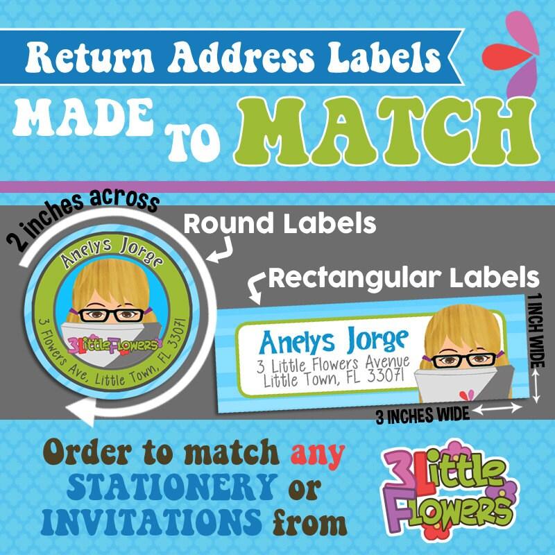 Labels Made to Match Children Stationery Round Return