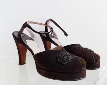 SPECIAL OFFER-handmade 1940s brown suede leather platform shoes/ 40s peep toe pumps heels / slingback pumps size 7