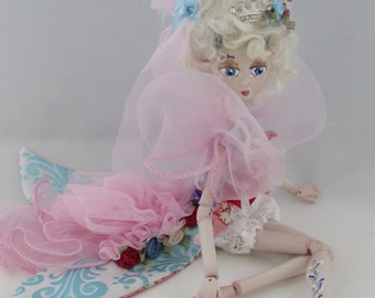 DEDE FRENCH Deer, porcelain ball jointed puppet doll, ooak handmade in the USA