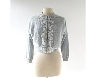 Vintage Beaded Cardigan / 1960s Sweater / Beaded Sweater / Large L