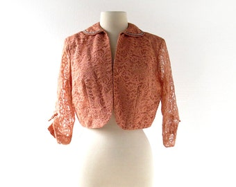 Vintage 50s Jacket / Copper Lace Jacket / Beaded Collar / 1950s Jacket / S M