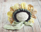 bloom bonnet // sitter flower hat // quilted petals // baby photo prop // summer prop //  sunflower hat// ready to ship // 6 to 12 months