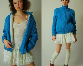 Ski Puffer Jacket Vintage Robins Egg Blue Chunky Cable Knit Puffer Snow Bunny Jacket  (s m)