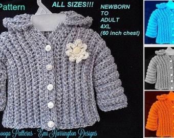 CROCHET PATTERN Sweater, --- Unisex Sweater pattern, cardigan or hoodie, crochet sweater, Baby, Child, Toddler, Teen, Adult, Plus size  #780