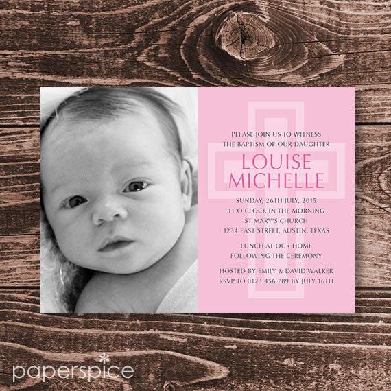 Baptism or Christening Invitation Photo – DIY Printable Personalized – Large Cross Girl (Digital File)