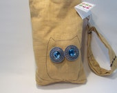 One of a kind owl wristlet bag, Whimsical gifts, Whimsical owl gift, Whimsical owl wristlet perfect gift for any owl lover.