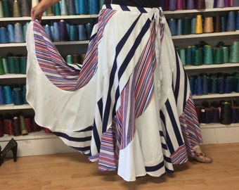 White Striped Long Maxi Skirt/Long Plus Size Skirt/Long Bohemian Skirt/Long Boho Skirt/Full Swing Skirt/Circle Skirt/Nautical Skirt/3X/4X/5X