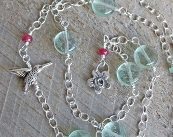 Hummingbird Spirit Animal Totem Fluorite Aventurine Ruby Healing Gemstone Necklace