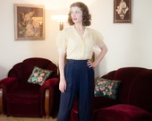 1940s Vintage Pants - Quintessential Navy Blue Gabardine 40s Slacks with Pleats and Dropped Belt Loops