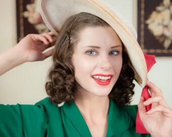 Vintage 1940s Hat - Stunning Ivory Straw Wide Brim 40s Sun Hat with Fuchsia Pink Silk Sash Bow