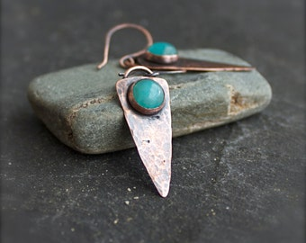 Amazonite Arrowhead Earrings - Turquoise Gemstone Dangle, Hammered Copper, Oxidized Patina, Rustic Bohemian Jewellery