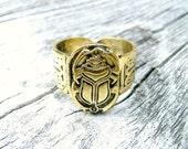 Brass Vintage Egyptian Scarab Beetle Ankh Hieroglyphics Ring Hand Crafted Artisan Adjustable Jewellery